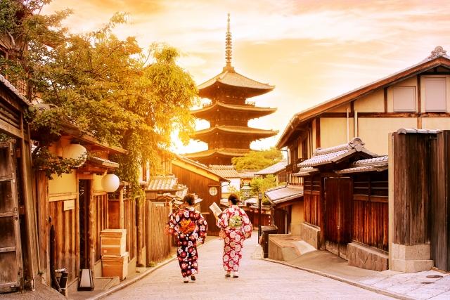 着物姿の女性と京都の風景