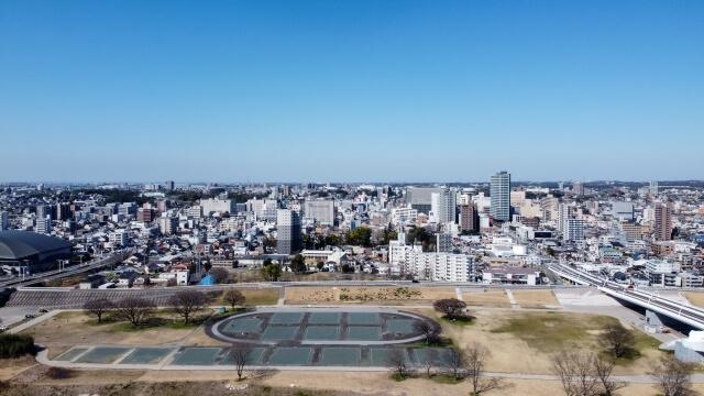 豊田市を上空からみた光景